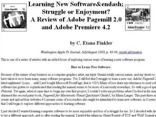 http://www.wap.org/journal/learningnew/learningnewsoftware.html