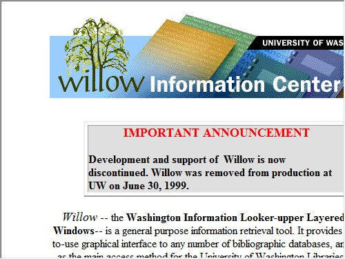 http://www.washington.edu/willow/home.html